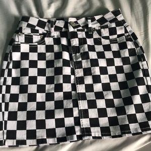 denim checkered skirt